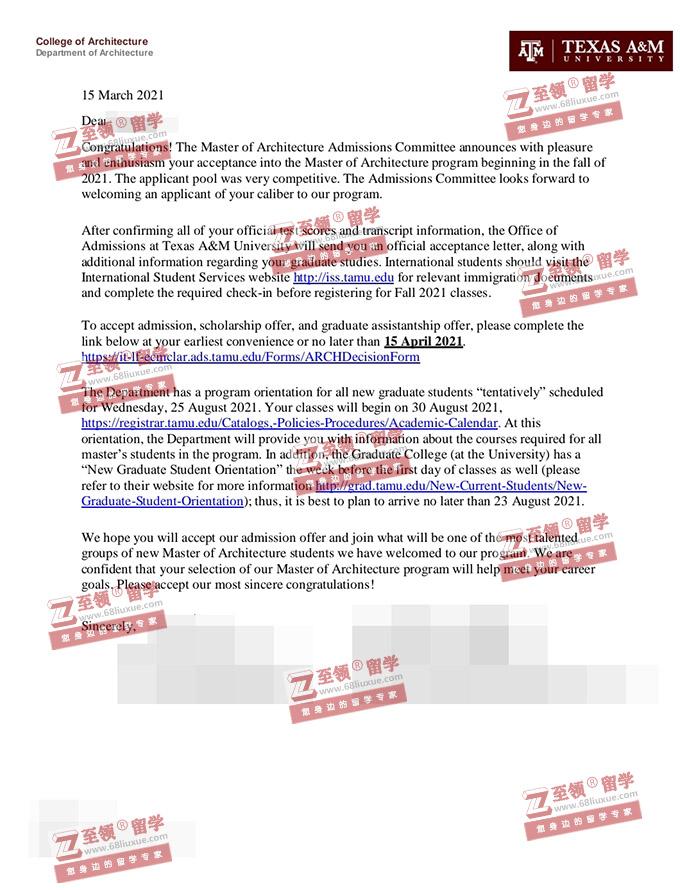 GPA 2.4获德州农工大学建筑学硕士录取